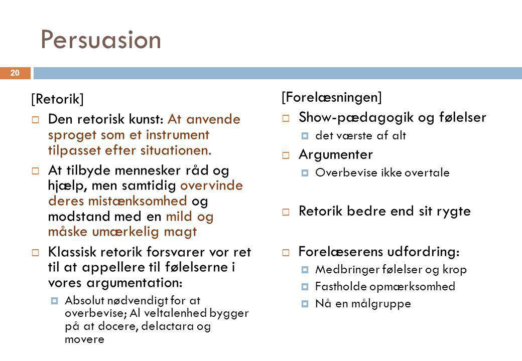 Persuasion [Forelæsningen] [Retorik] Show-pædagogik og følelser